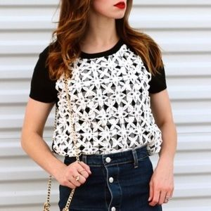 Anthropologie   Short Sleeve Lace Plaid Sweater